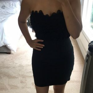 Dark navy blue strapless bandeau dress